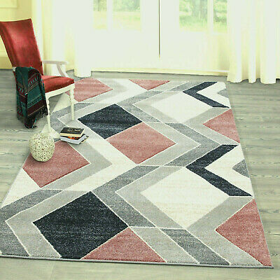 New Blush Pink Beige Silver Grey Modern Geometric Design Small Large Rugs Runner
