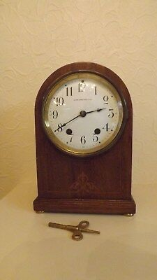 Vintage Art Deco Mantel Clock, with chime and key. Height 270mm.