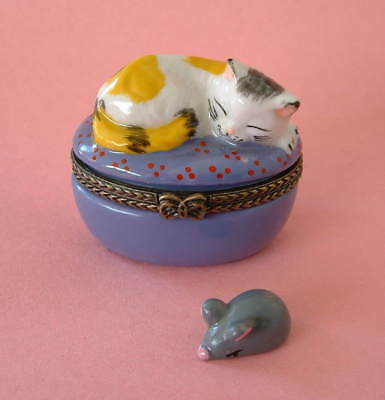 New Handpainted Calico Cat Napping on Purple Pillow Cat Porcelain Hinged  Box