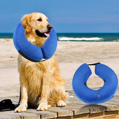 Pet Dog Cats Inflatable Protective Head Cone Injuries Recovery E-Collar Surgery