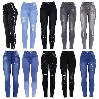 Womens High Waist Pearl Embellished Ripped Distressed Ladies Skinny Denim Jeans