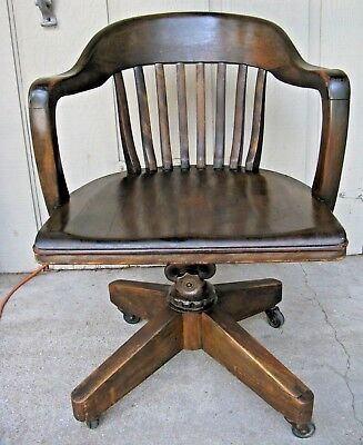 Vintage DARK WOOD SWIVEL DESK / OFFICE CHAIR w CoastersBanker Lawyer Courthouse & VINTAGE WOOD OFFICE CHAIR banker swivel lawyer courthouse antique ...