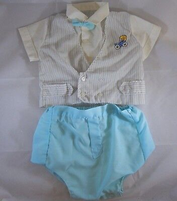 Vintage 1960s 2-piece Outfit 0-3mo Blue Baby Boy Bowtie Early Car rubber pants