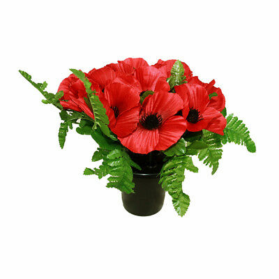Grave Pot Red Poppies and Fern 26cm Memorial Arrangement