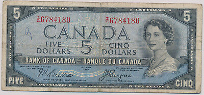 Bank Of Canada Devils Face 5 Dollars 1954 Ic6784180 - Vg/fn