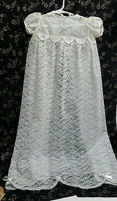 Baby Girl Christening Baptism Lace Gown Girl 0 to 6 mth. Antique White Handmade
