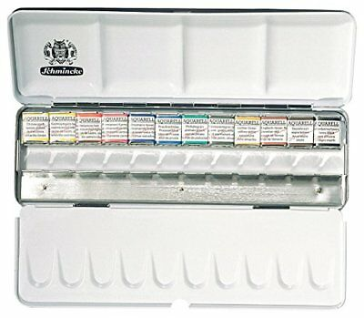 SCHMINCKE Watercolors, Metal Box Set of 12 Half Pans 74412097