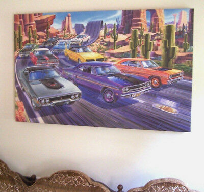 Plymouth Road Runner Car Art 1968 1969 1970 1971 383 426 Plum Crazy Wiley Coyote