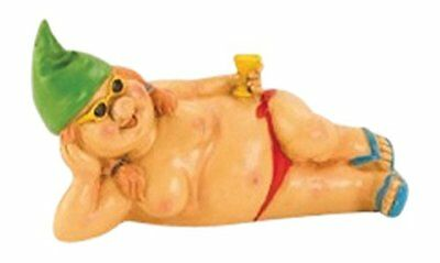 Garden gnome Lady 23 cm large nude cocktail and green hat