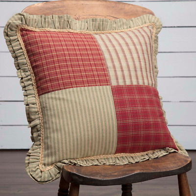 """New Primitive Country Red Sage Green PRAIRIE WINDS QUILT PATCH Pillow 18"""""""