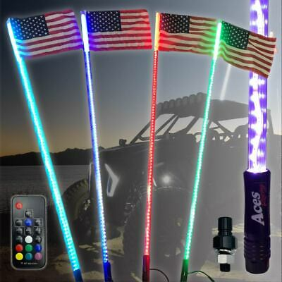 5ft 20 Color 200 Combo LED Lighted Whip w/ Flag-UTV-RZR-YXZ-Buggy-Off Road-Jeep