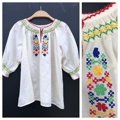 Vintage Girls 70s St Michael Peasant Gypsy Greek Mexican Embroidered Top Age 6 7