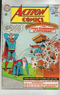 Action Comics # 327 / Fine- / Dc 1965 / Three Generations Of Superman.