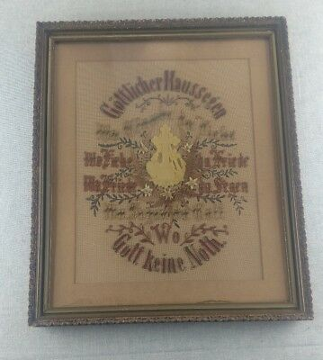 Victorian Antique German Sampler Religious Paper Punch Needlepoint Embrodery