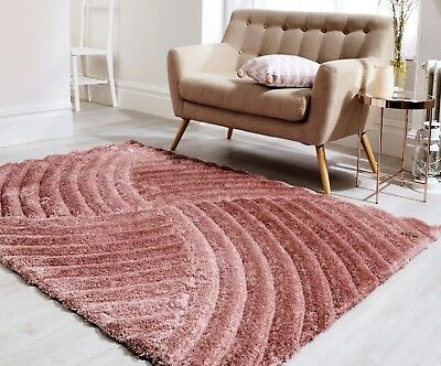 Small - Large Dusky Blush Pink Thick Soft Carved Heavy Pile 3D Verge Furrow Rug