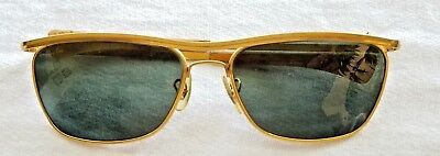 0d91eb9ce4 Vintage Bausch Lomb Ray Ban Gold Metal Frame Glass Olympian Sunglasses W1307