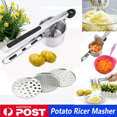 Stainless Steel Potato Ricer Masher Fruit Meat Press Chopper Mincer Crusher