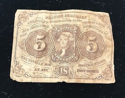 US Fractional Postage Currency 5c Five Cents Jefferson, Fair Cond. ANTIQUE