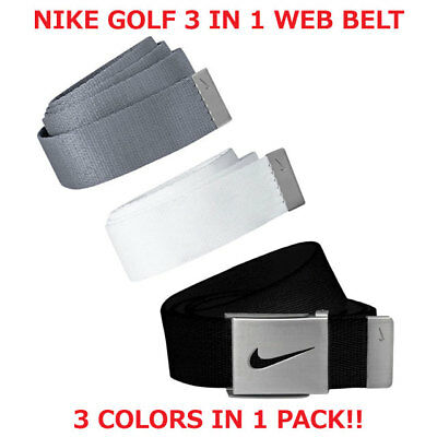 """Nike Golf Men's Web Belt 3 In 1 Pack Black/grey/white  Size Fits Up To 52"""" 18662"""