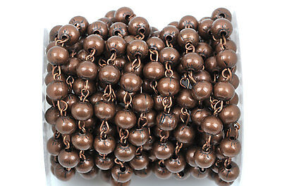 1yd Copper Round Bead Chain, Rosary Chain, Ball Chain Beads are 4mm FCH0369a