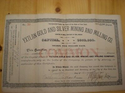 Yxtlan Gold And Silver Mining And Milling Co,1887, Uncancelled Stock Certificate