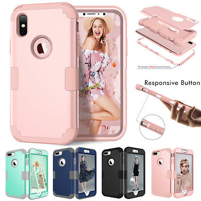 iPhone XS Max XR X 6 7 8 Plus Shockproof Armor Rubber Protective Hard Case Cover