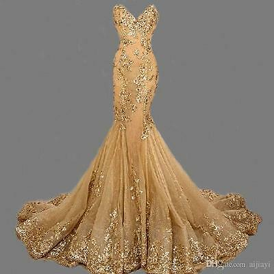 b9b0f6ce New Mermaid Gold Evening Dress Long Bead Party Prom Pageant Formal Gown