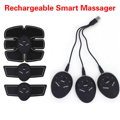 USB Rechargable Fitness Abdominal Muscle Trainer ABS Fit Stimulator Toner LOT