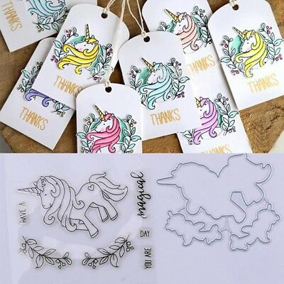 Unicorn Stamp & Metal Cutting Dies For DIY Scrapbooking Card Embossing Craft