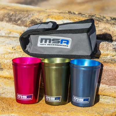 6x MSA 4X4 Anodised Aluminium Travel Cups with Canvas Bag