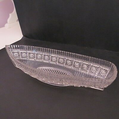 Antique Victorian Grace Darling pressed glass boat shaped dish
