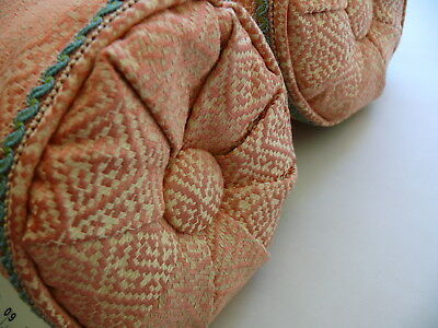 "1 Pair Scalamandre Silk Segovia Lumbar Pillows Salmon Pink & Cream 17X6"" #1510"