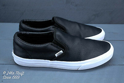 d657838801 VGC! VANS ASHER Perforated Leather Slip-Ons Mens Size 10 Black ...