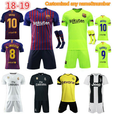 2018 Football Soccer Jersey Kits Short Sleeve for 3-14Y Kids Boys+Socks Outfits
