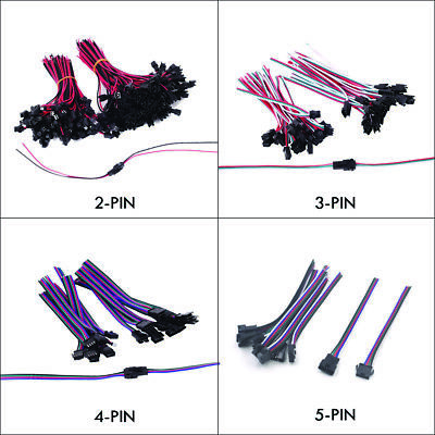 2/3/4/5 PIN JST SM Connectors Male + Female Wire Cable for Single/RGB/RGBW LED