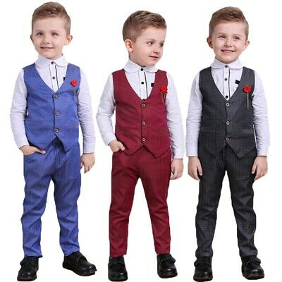 3Pcs Kids Baby Formal Gentleman Suit Clothes Baby Boys Cotton Top+Pants Outfits