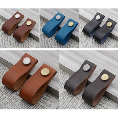 Handmade Leather Door Handles Cabinet Drawer Dresser Leather Pull Knobs Useful