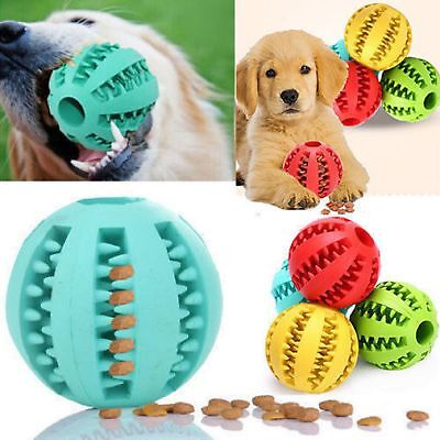 Durable Rubber Ball Chew Pet Dog Puppy Teething Dental Healthy Treat Clean Toy