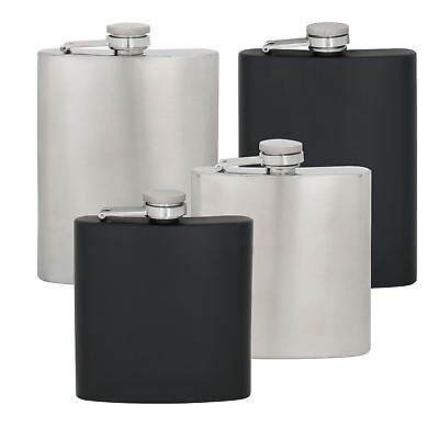 Hip Flask Stainless Steel Alcohol Container Curved Hinged Lid Silver Black