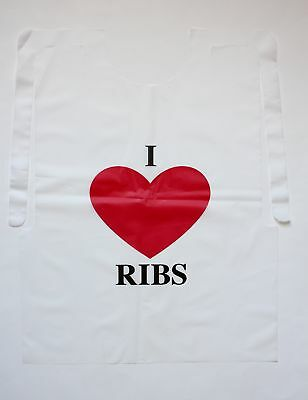 Case of 500 Disposable Plastic I Love Ribs Bibs