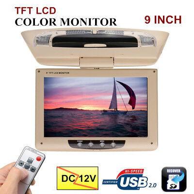 9'' Screen Flip Down Roof Mount Monitor Overhead TFT LCD Car DVD Player 12V