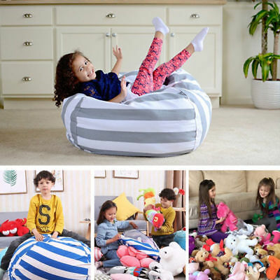 M/L Stuffed Toy Storage Sack Bean Bag Chair for Kids Toys Household Organizer