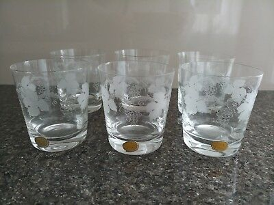 Set of 6 Bohemia Whiskey Tumblers Glasses Etched Grape Vines Leaves