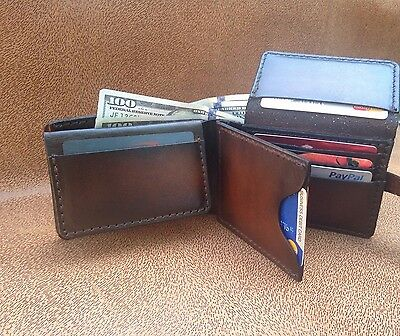 High Quality Hand Made Genuine Leather Men trifold bilfold With closure snap