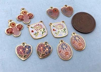 Vintage Asian Enameled Metal Floral Charms Mix 10