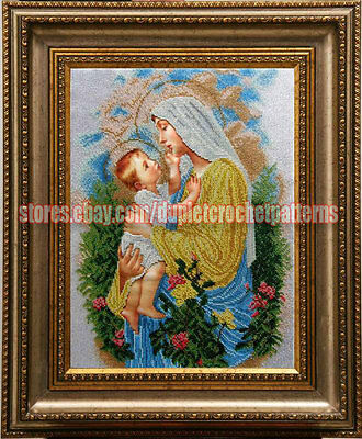 Virgin Mary of the Rosary, religious picture, bead embroidery needlework kit