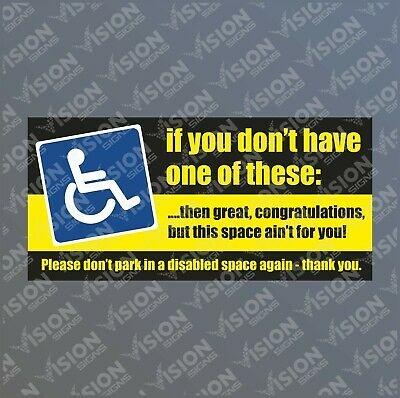 Disabled Parking Sticker Inconsiderate Parking Notice Waterproof Not Disabled