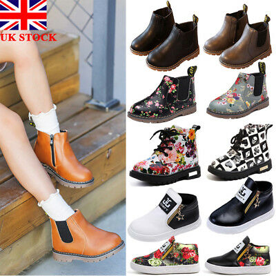 UK Kids Children Leather Zipper Martin Ankle Boots Chelsea Toddler Flat Shoes