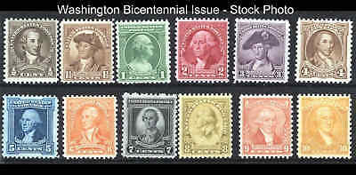 Sc 704-715 George Washington Bicentennial Issue 1932 MNH  Complete Set