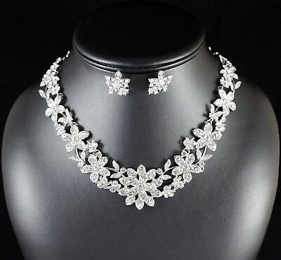 Floral Clear Rhinestone Crystal Necklace Earring Set Bridal Prom Pageant N88